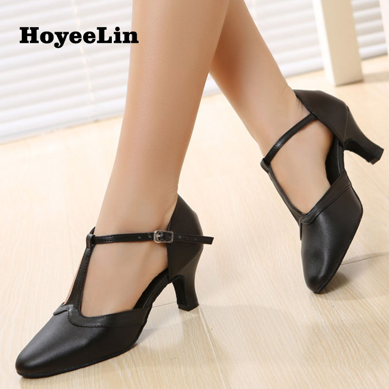 New Arrival Women Ladies Cow Leather Mid Heeled 6.5cm Black Modern Dance Shoes Ballroom Party Tango Waltz Salsa Dancing Heels