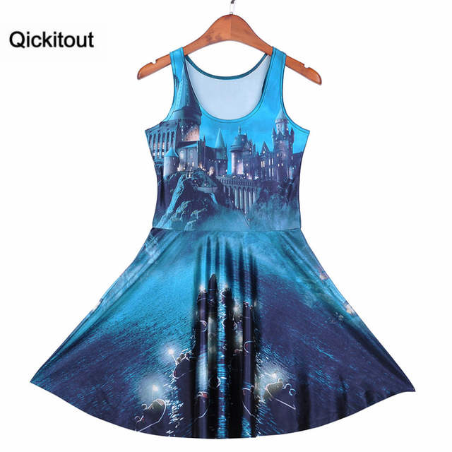 44ee52ce55 Qickitout Dress Fashion Plus Size Women s Dark Haunted Castle Magic Light  Dresses Digital Print SKATER DRESS