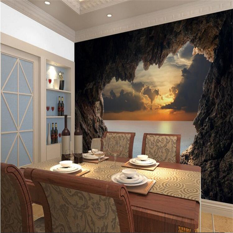 Aliexpress.com : Buy Modern 3D Stereoscopic Photo Wallpaper Living Room  Bedroom TV Background Wallpaper Beautiful Seascape Cave Wall Mural Wall  Paper From ... Part 60