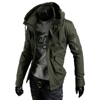 Hooded Mens Jacket Military Big Sizes Casual Streetwear Jackets Men Militaire Zipper Coat Men Punk Style Tactical Overcoat Man