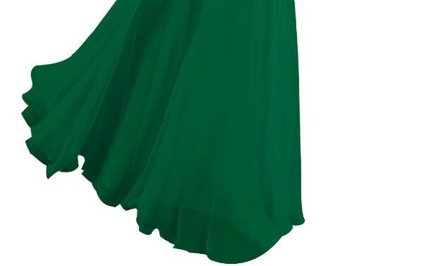 [Распродажа] шифоновое вечернее платье Длинное Элегантное длинное вечернее платье с блестками и бисером на шнуровке сзади милое - Цвет: Green