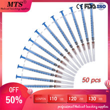 50pcs 1ml Disposable Medical Sterilization Syringe can be for Students Injection training