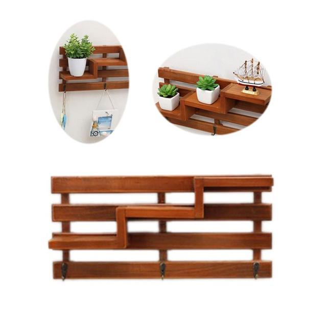 Retro Wooden Wall Shelf With 3 Key Hooks 3 Tier Board Ladder Hanging Shelf  Shelves