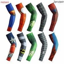 PAIDIAO Arm Warmers Spider-man/Superman/Hulk/Iron-man/Captain America Marvel Cycling Sleeve Basketball Sun Protection Arm Cover