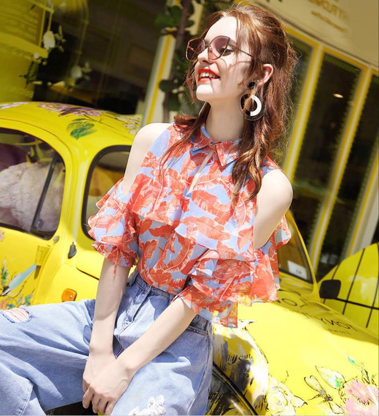 Female Summer New Puff sleeve Half Shoulder elegant fashion off-the-shoulder Chiffon Blouse