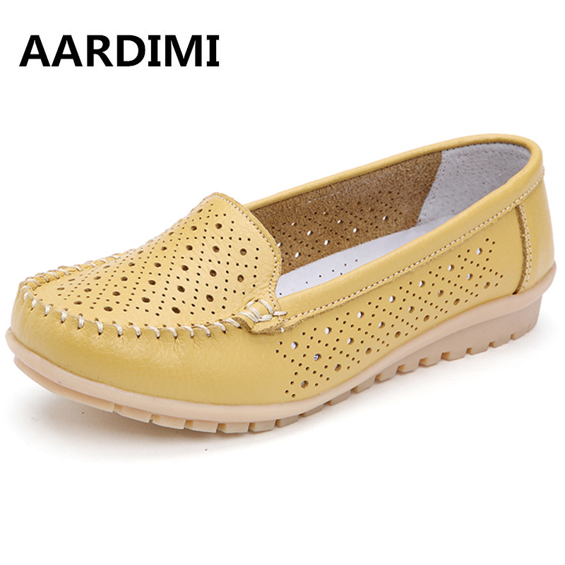 New arrival spring summer genuine leather women flats shoes solid casual loafers ladies mocassins women shoes