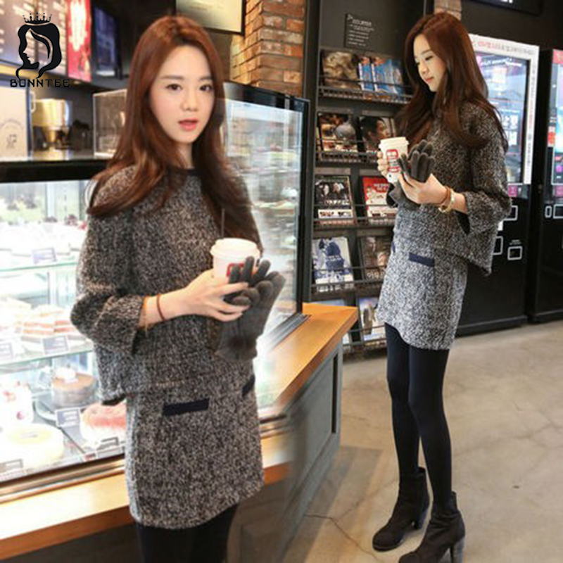 New Winter Trendy Two Piece Women Set Korean Style Womens Clothing Fashion Knitted Female Slim High Waist Casual Females Elegant