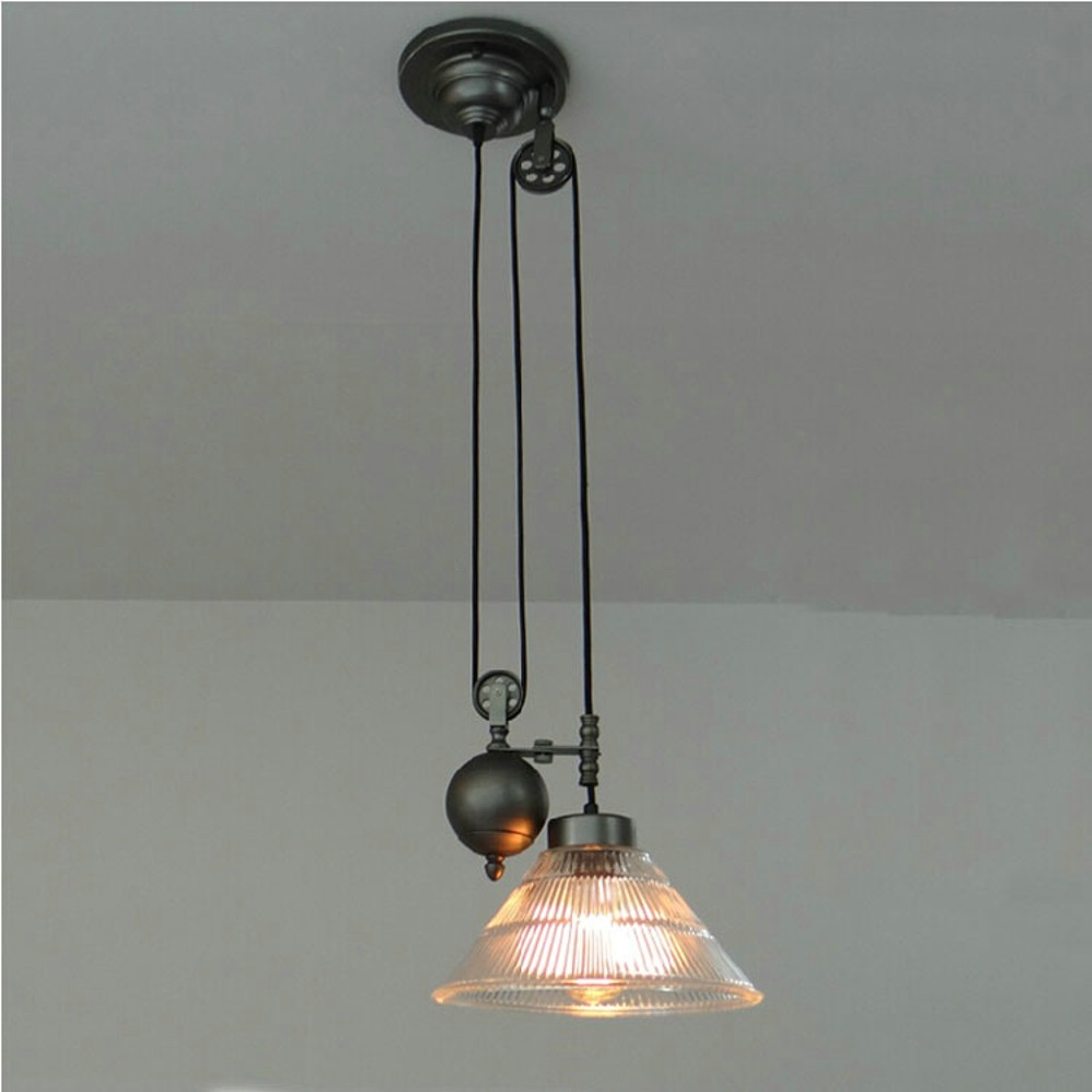 Glass Lampshade Retro Pulley Spindle lift Pendant Lights Industrial Style Iron pendant lamps Restaurant Bar Cafe lights fixture подвеска silver wings цвет белый