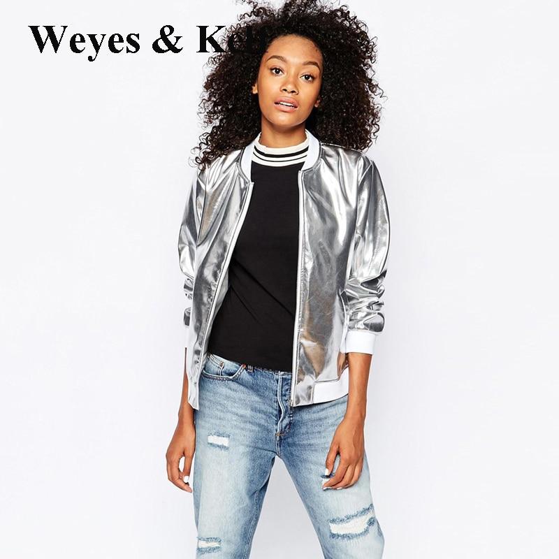 Weyes & Kelf Sparkling PU Silver Coat women 2017 autumn casual loose jacket short jacket