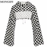 MONGIFI Checkerboard Cotton Hoodies Women Sweatshirts Flare Long Sleeve Smocked Checkered Crop Tops Plaid Ladies Hoodies