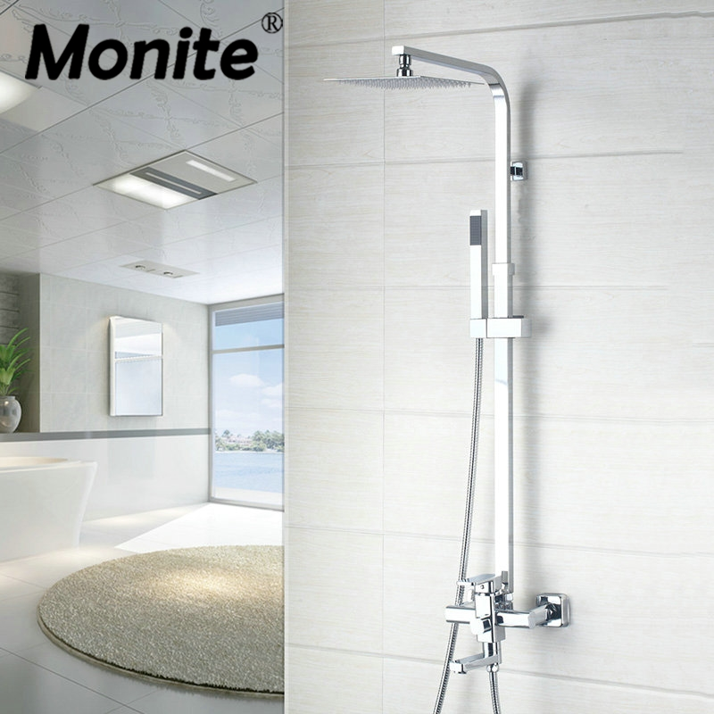 Mordern NEW 8/10/12/16 Inch Square Shower Faucets Waterfall Shower Faucet Set With Hand Spray Wall Mount Shower Mixer Taps