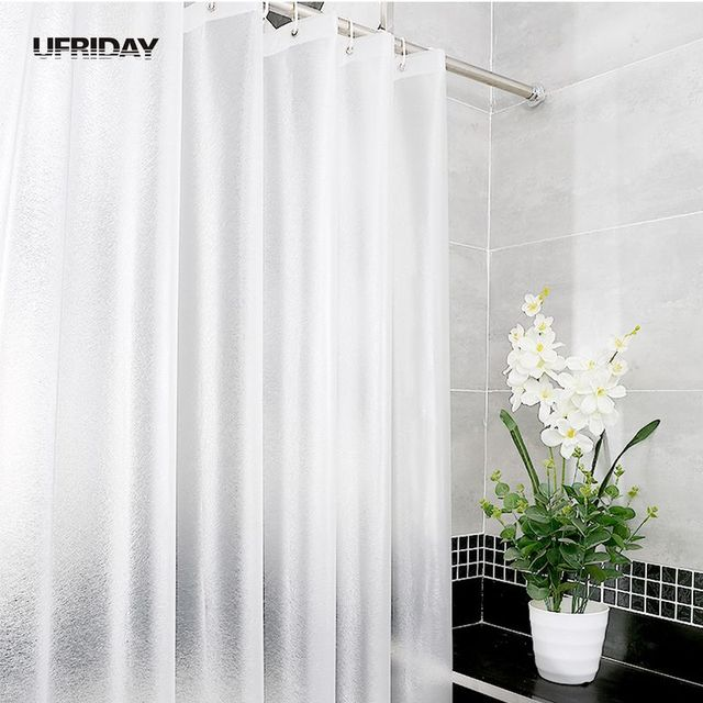 UFRIDAY New Brand Frosted EVA Matte Silk Translucent Shower Curtain Thick 3D Bath Curtains Waterproof