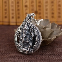 925 серебро Таиланд Ганеш кулон ожерелье Стерлинговое Богатство Бог кулон ожерелье удача богатство Будда Амулет