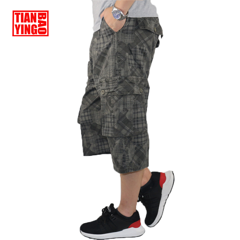 Summer Mens Cargo Pants Camouflage Baggy Casual Capri Trousers Graffiti Military Style Men Cotton Loose Calf Length Pants Harem