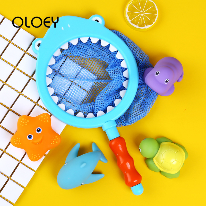 OLOEY Kids Toy Swimming Summer Play Water Bath Fishing Toy Water Spray Bath Toys Network Bag Pick Up Starfish Color Changeable