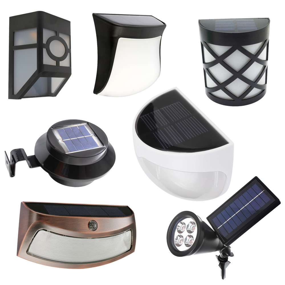 LED Garden Light Solar led Panel Lamp Sensor Waterproof mounted Outdoor Fence Wall Lamp Lighting Warm Cool white