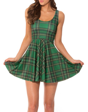 Drop Ship Fashion Women Casual Work Dresses Fit and Flare Digital Printing TARTAN GREEN REVERSIBLE SKATER