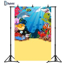 DePhoto Undersea world Photography Backdrops Baby Shark Cartoon Fish Bubble Party Portrait Photo Backgrounds Studio