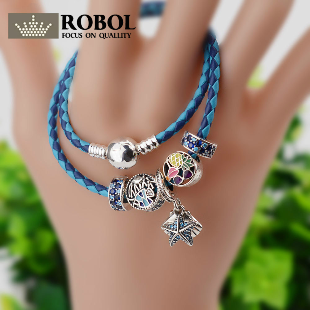 ROBOL New Fashion 925 Sterling Silver & Adjustable Genuine Leather Chain Beads Charm Fit Pan Bracelet For Women Original Jewelry