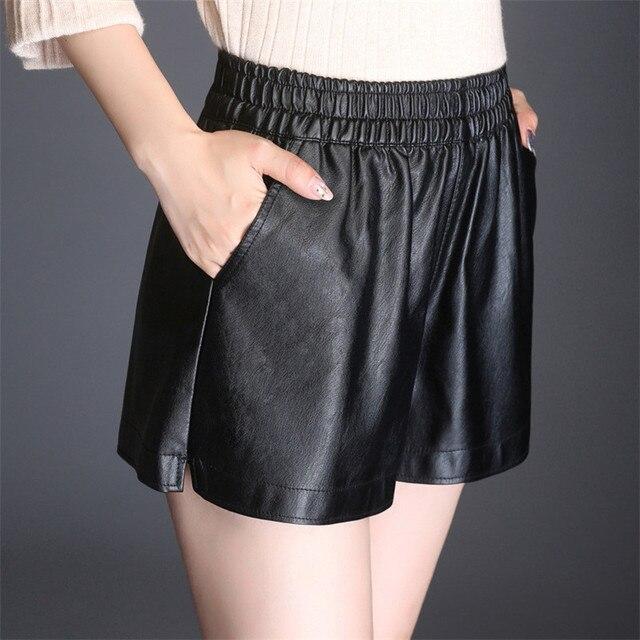 Shorts Mujeres Negro Loose Cintura Elástica PU Tela de Cuero Mini Sexy  Cortocircuitos de Las Muchachas 54e8b2bbdcba