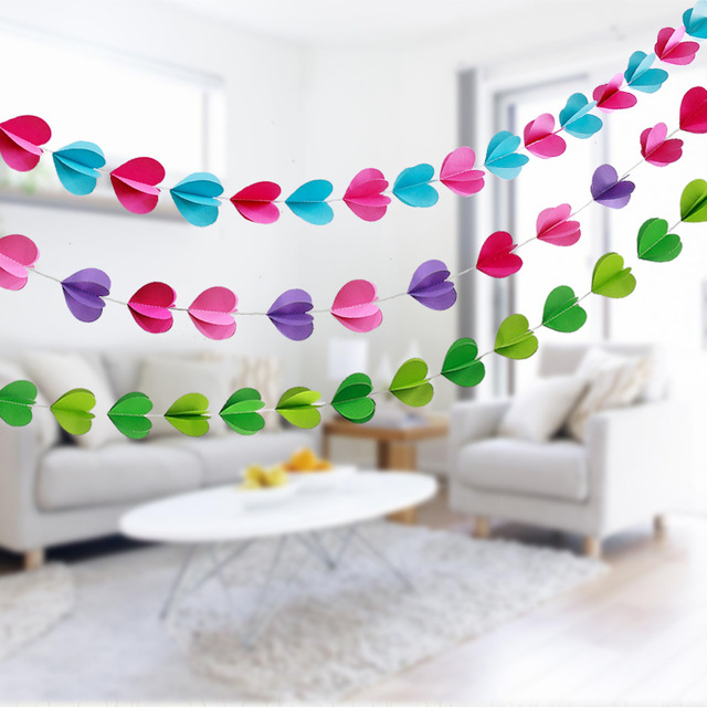 free shipping 3m solid hearts paper garland for wedding decoration mariage string chain birthday party decorations - Aliexpress Decoration Mariage