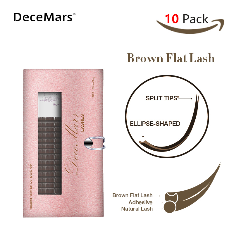 DeceMars 10 Cases/lot Brown Matte Eyelashes Extension Ellipse Flat Lashes Ellipse Eyelash Extension Fit Flat Lashes 0.15 B/C/D