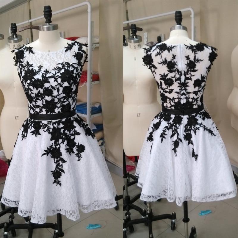 Moda preto e branco vestido de formatura curto baile ...