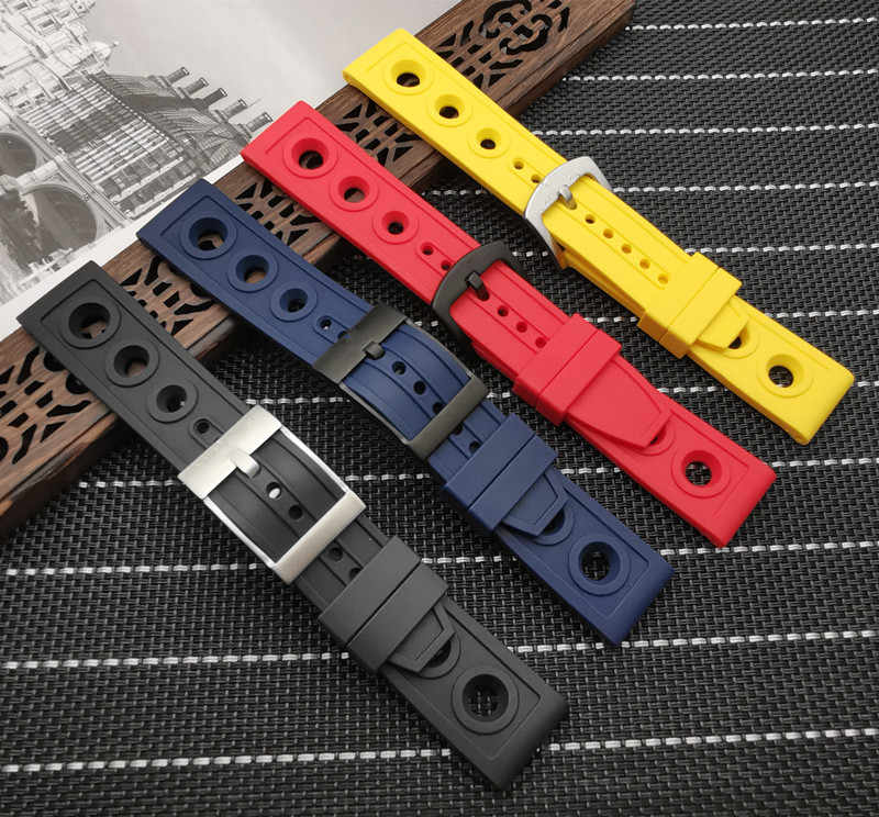 Soft Nature Rubber Watch band 22mm 24mm Black Blue Red Yellow Watchband Bracelet For Breitling strap with logo on buckle