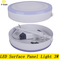 Round Acrylic LED Ceiling Panel 3W Led Recessed Light Surface Mounted Double Color 2835SMD Aluminum Panel