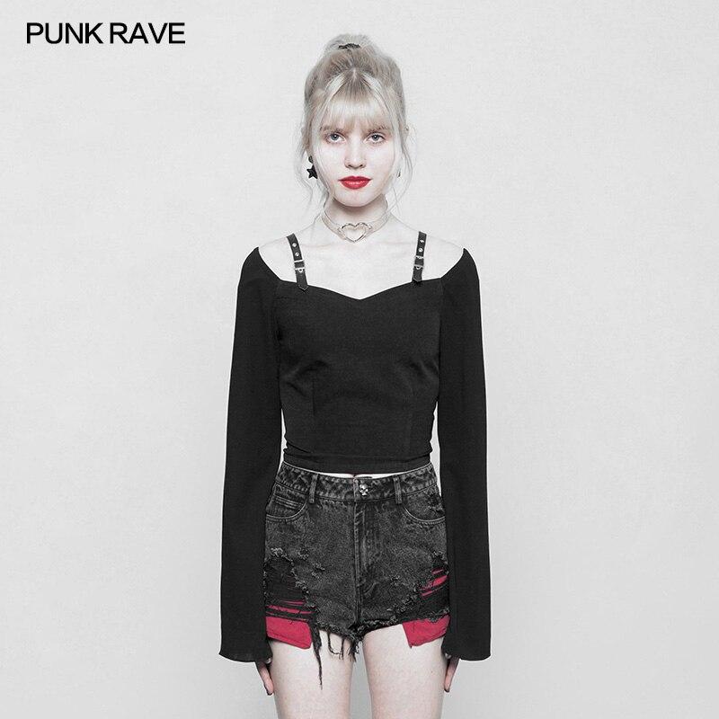 Punk Rave noir gothique mode fermeture éclair décoration en mousseline de soie femmes Sexy court t-shirts hauts visuel Kei OPT230