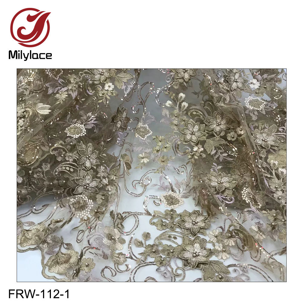 Milylace high quality french tulle lace fabric with beads beautiful sequins net lace fabric african lace