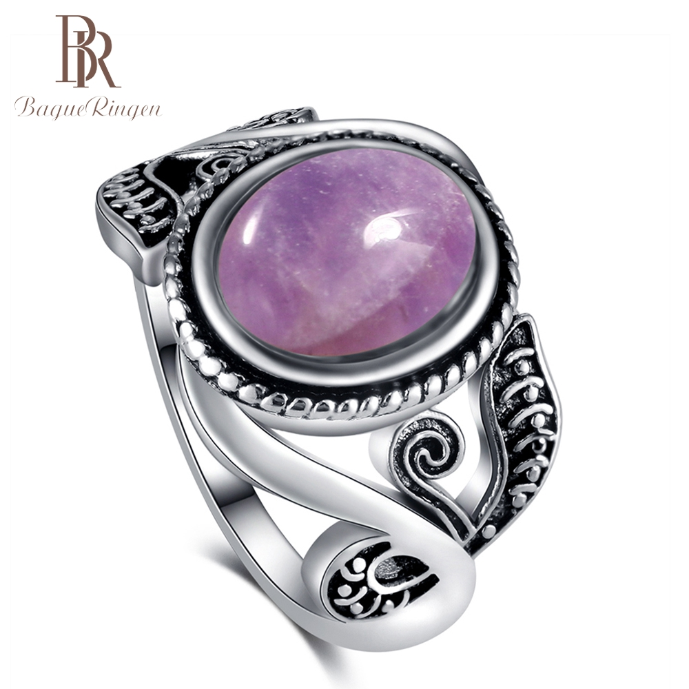 Bague Ringen Vintage Purple Created Amethyst Rings For Women 925 Silver Party Anniversary Ring Wholesale Jewelry Gift Size 6-10