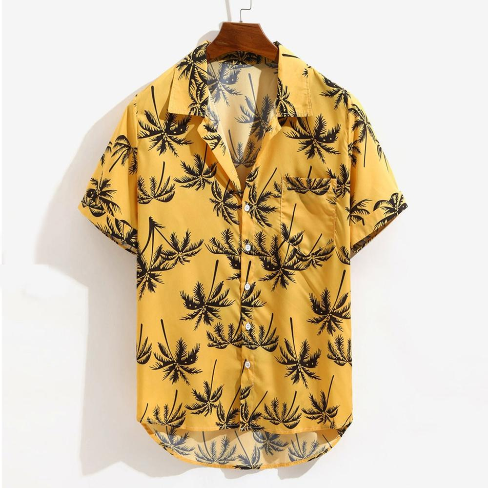 New Shirt Men 2019 Beach Printed Hawaii Shirt Quick Dry Short Sleeve Male Blouse Turn-down Collar Tops Camisas Dropshipping C