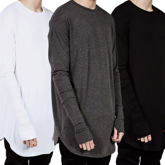 Moda hombres hip hop manga larga camiseta con manguito for Mens dress shirts with cufflink holes
