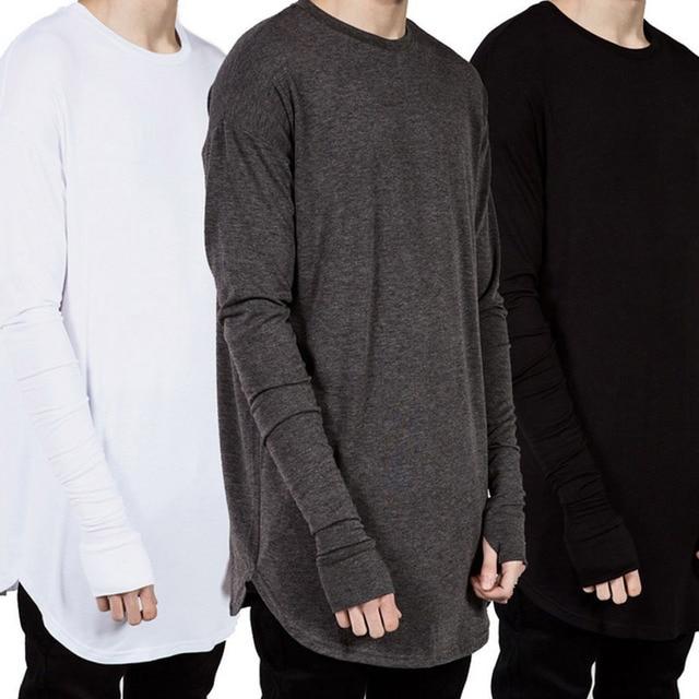 Moda hombres hip hop manga larga Camiseta con manguito