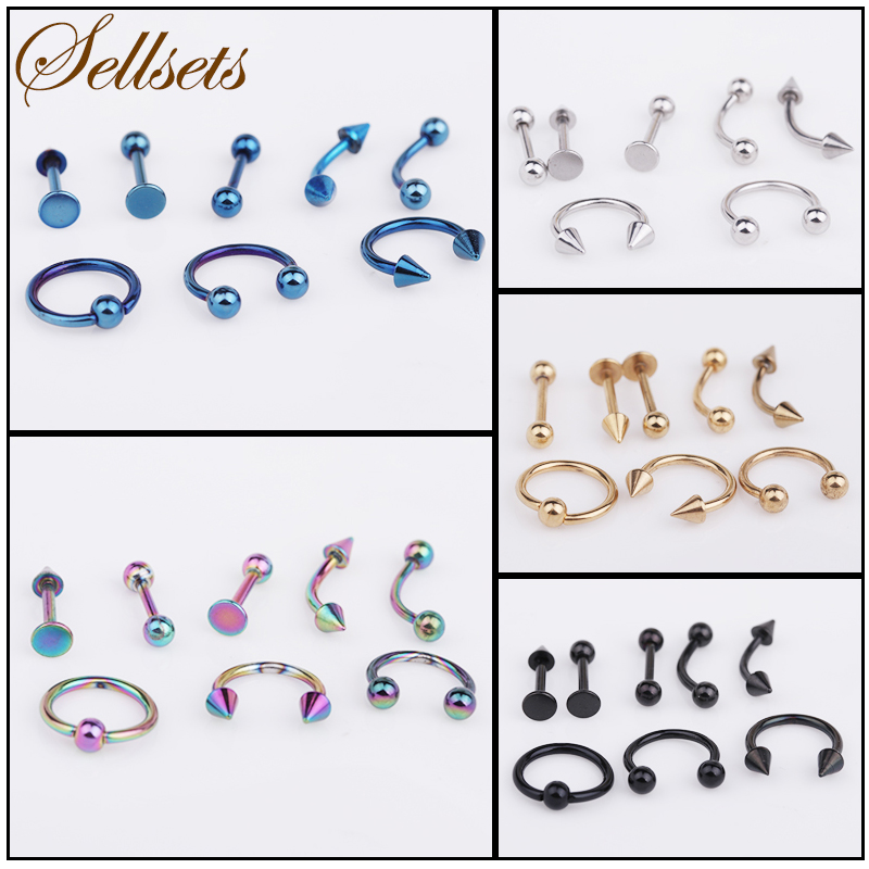 Sellsets 8 PcsLot Rainbow Gold Black Blue Anodized Stainless Steel Eyebrow Rings Body Piercing Sexy Women Jewelry