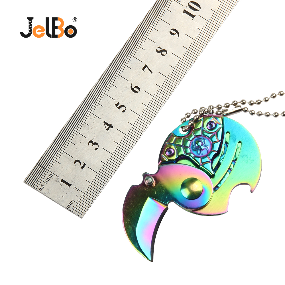 JelBo Mini Key Ring Folding Knife Gear Peeling Fighting Tool Outdoor Self Defense Carry Coin Open Knives image