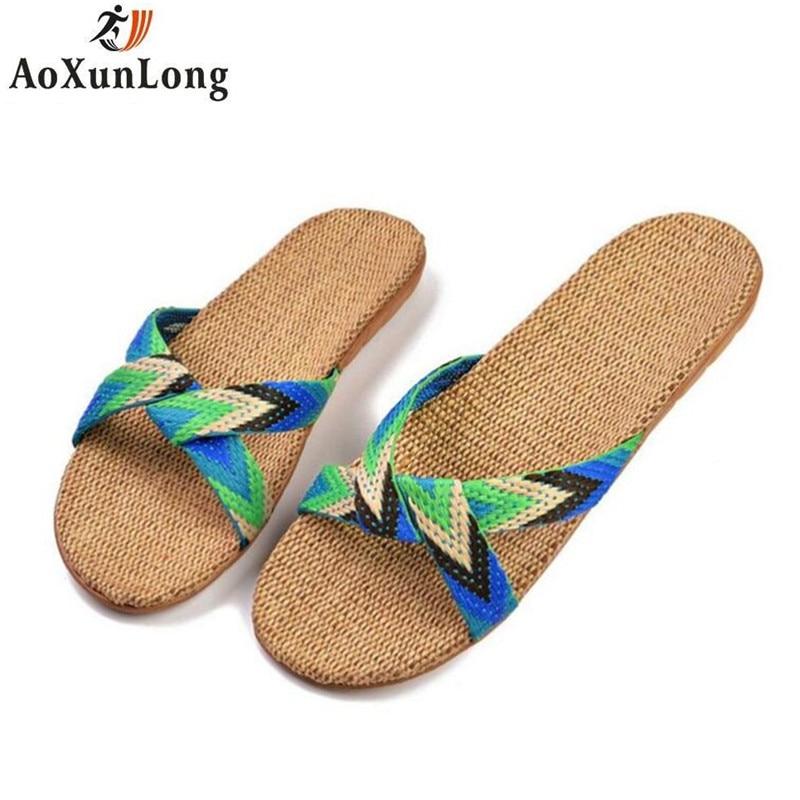 Slippers Women Hot Summer New Womens Slippers Linen Insole Home Slippers Stripe Slide Flat Shoes Woman Flip Flop Eu 35/40 9 8 7
