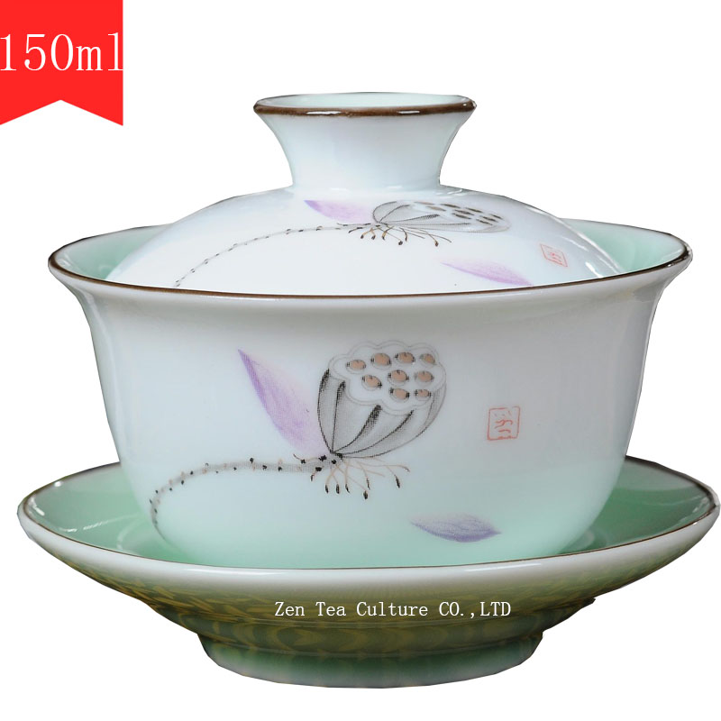 Chinese Tea Sets Gaiwan Porcelain Celadon Glaze Blue and White - Kitchen, Dining and Bar