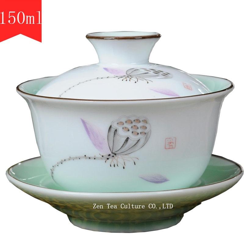 Čínské čajové sady Gaiwan porcelán Celadon glazura Blue and - Kuchyně, jídelna a bar