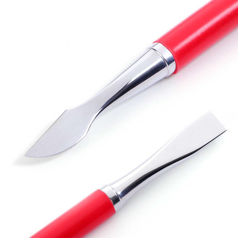 1 piezas de plata de acero cutícula empujador para arte de uñas removedor de piel muerta de uñas palo Trimmer Anti-Slip manicura y pedicura herramienta de limpieza CHFBR