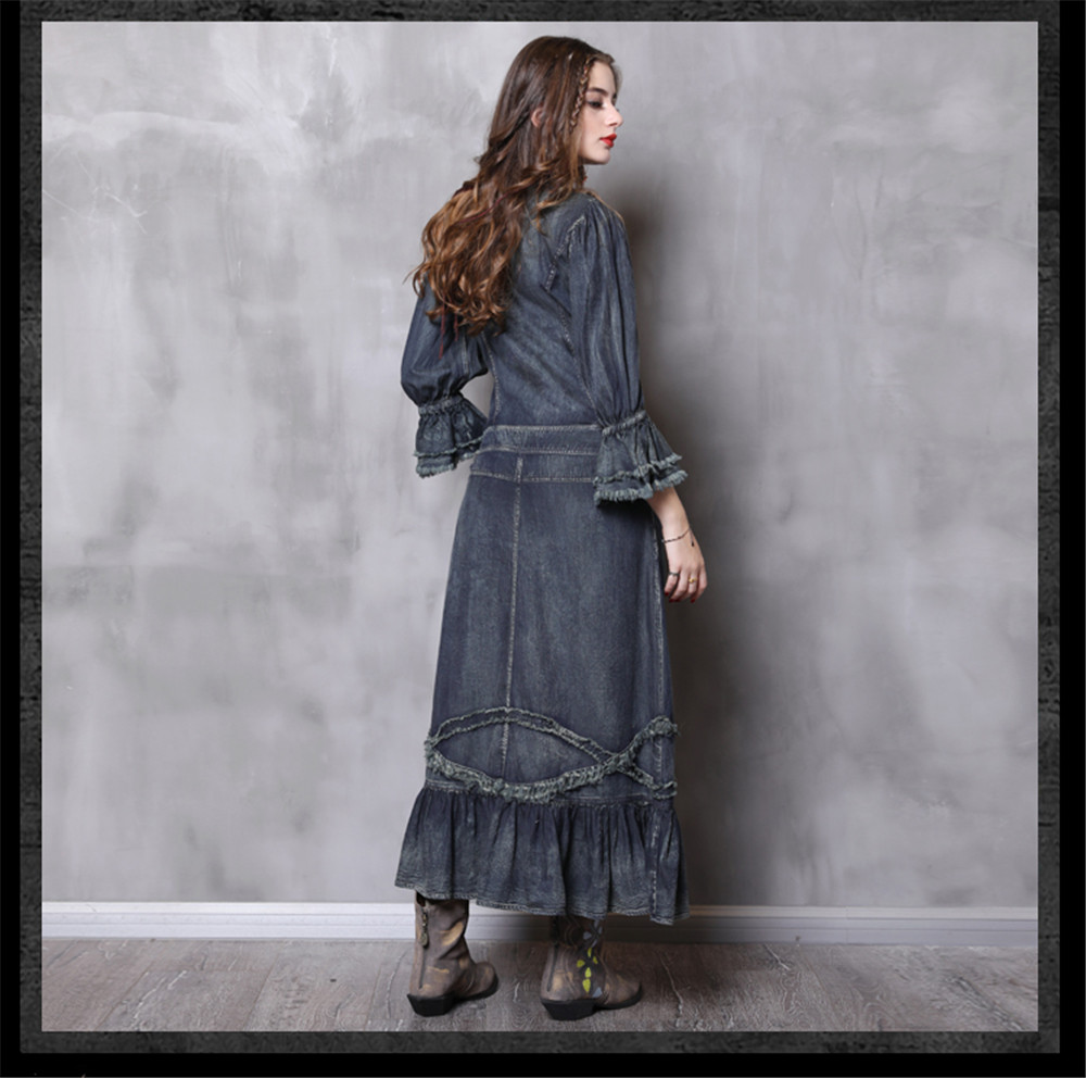 Vintage Autumn Dress Women With Pockets 2018 New Denim Dresses Stand Collar Long Elegant Lace Patchwork Vestidos Femininos (16)