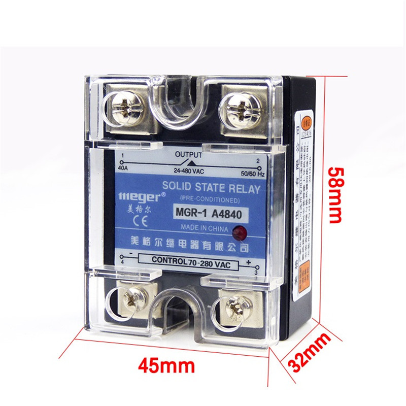 Normally open single-phase solid state relay SSR MGR-1 A4840 40A AC-AC control voltage 70-280V AC mgr 1 d4825 single phase solid state relay ssr 25a dc 3 32v ac 24 480v