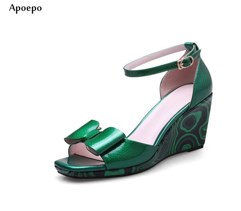 Apoepo 2018 Summer Green Red Patent Leather Wedge Sandal Big Butterfly-knot Open Toe Ankle Strap Woman Shoes Platform Sandal apoepo fashion patent leather wedge sandal for woman super high ankle strap platform shoes rope braided buckle strap summer shoe