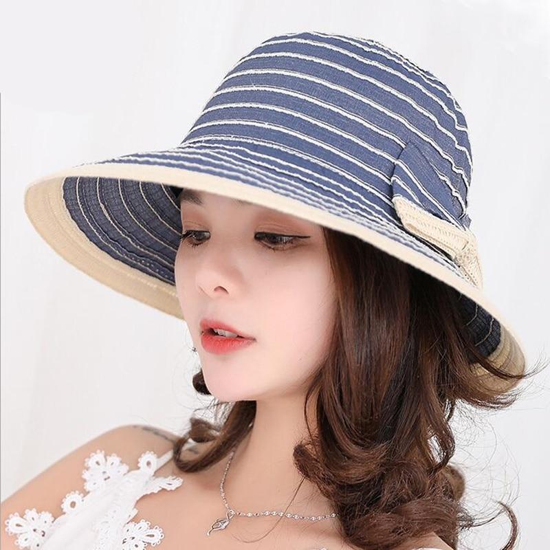 b5ae04fd3b536 oZyc CAP Women Summer Sun Hats Cotton Striped Print Stylish BowKnot  Adjustable Sweatband Breathable Bucket Sun hats For Women