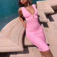Ocstrade Summer 2019 Women Cut Out Bandage Dress Bodycon Sexy Double Deep v Neck Pink Bandage Dress Rayon Evening Party Dress