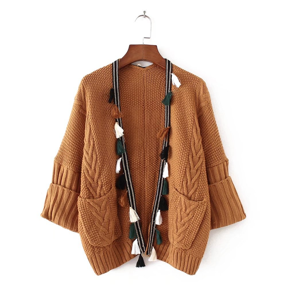 2018 Autumn Winter Womens Knitted Sweater Cardigan Female Plus Size Splicing Tassel Loose Outwear Good Quality Tops Clothing