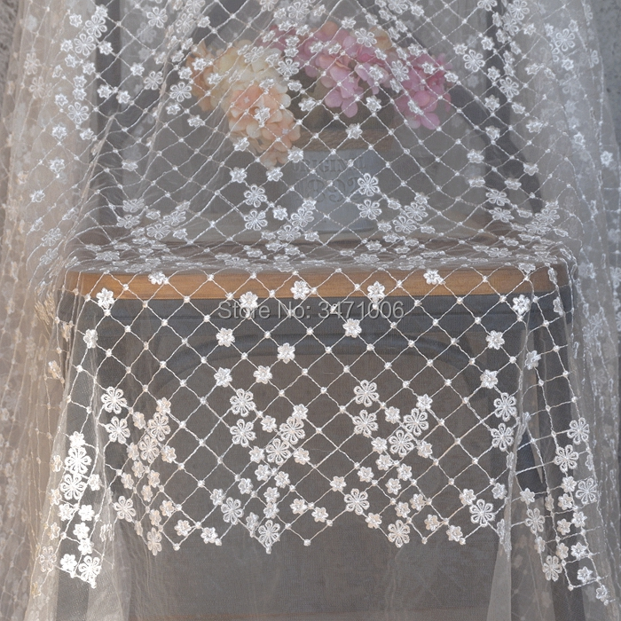 2 yards High grade white mesh embroidery lace fabric Wedding   dress  ,   evening     dress  , sewing Fabric Tablecloth decorative textiles