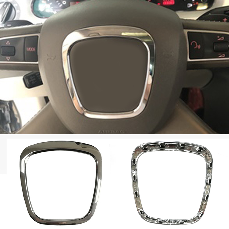 ABS Chrome Steering Wheel Trim Decorative Center Emblem Frame Sticker Accessories For Audi A3 8P S3 A4 B6 B7 B8 A5 A6 C6 Q7 Q5