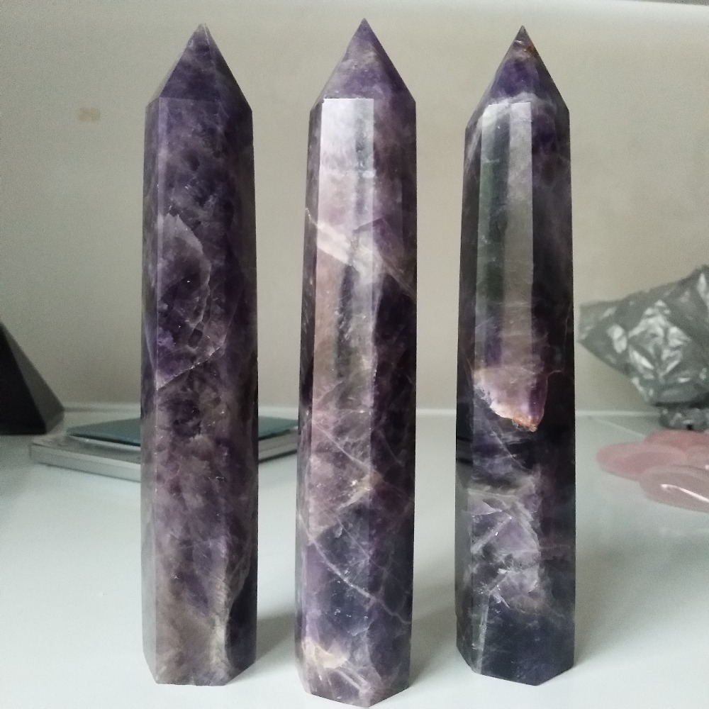 O A 153mm Tall Natural Dream Amethyst Crystal Wand Point Hexagon Healing Stones And Crystals Home Decor For Radiation Protection In Stones From Home Garden Peony Bridal Bouquet
